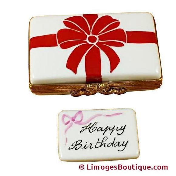 Gift Box With Red Bow - Happy Birthday Limoges Box Limoges Boxes Porcelain Figurines Collectibles Gifts