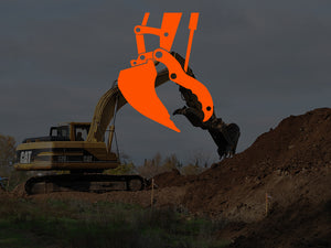 Hydraulic Thumb Attachment on Cat Excavator