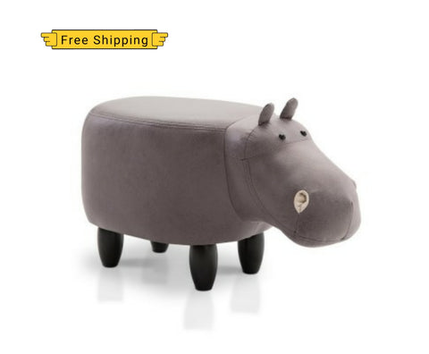 Artiss Kids Hippo Animal Stool - Grey