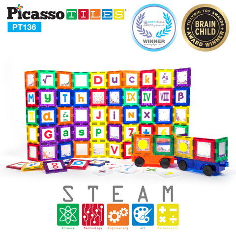 Picasso Tiles - Magnet Building Tiles 136 pieces