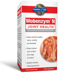 Garden of Life Joint Support Supplement - Wobenzym N Systemic Enzymes, 200 Tablets