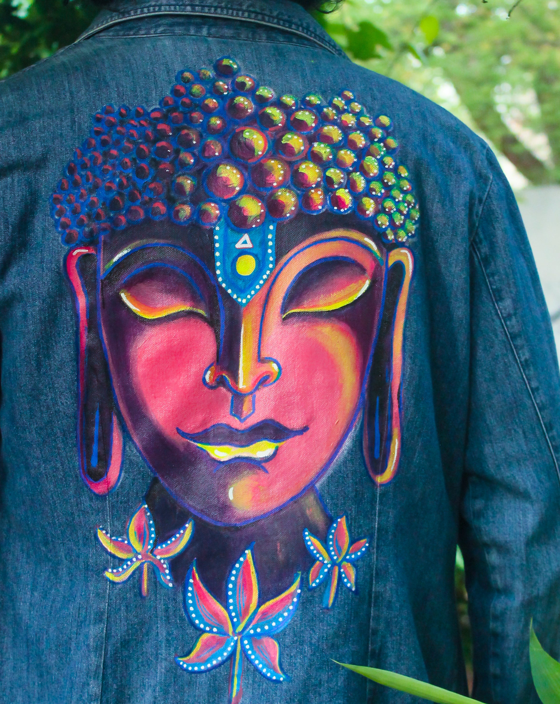 Budha -  Hand Painted Denim Jacket - loomful