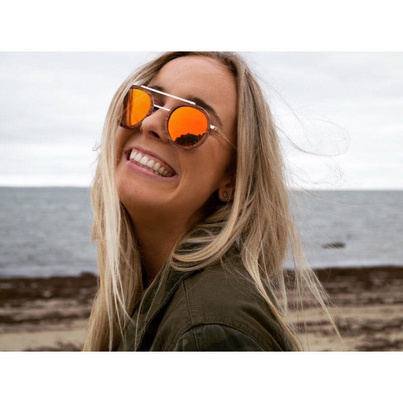 woman wearing bambies emilia handmade wooden sunglasses