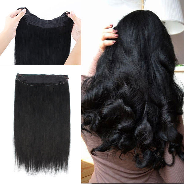 Halo Hair Flip in Human Hair Colored 1 Jet Black