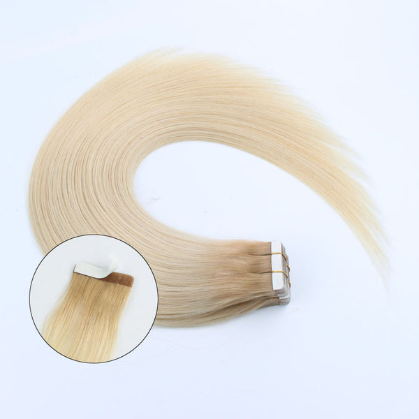 Lovrio 20pcs 50g Tape in Human Hair Extensions Roots Color Platinum Ash Blonde Fading to Dark Dirty Blonde R12-60 Adhesive Double Sided Colorful - lovirohair