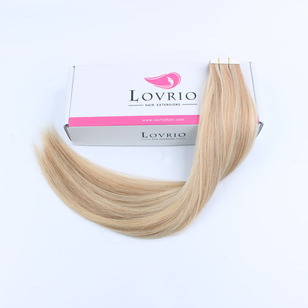 Lovrio 20pcs 50g Hair Extensions Real Hair Tape in Straight Hair Dark Dirty Blonde with Platinum Ash Blonde P12/60 Remy Human Hair - lovirohair