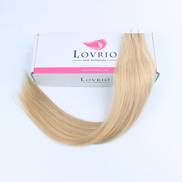Lovrio 20pcs 50g Glue in Straight Hair Extensions100 Dirty Blonde with Platinum Beach Blonde P18/613 Remy Human Hair - lovirohair