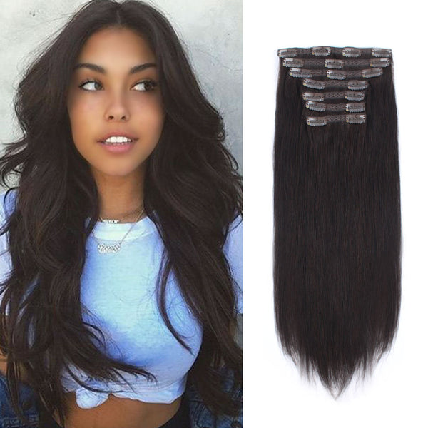 Clip in Hair Extensions Off Black Color Double Weft Big Thick Invisible Human Hair For Women 120g 7 pieces 18 clips
