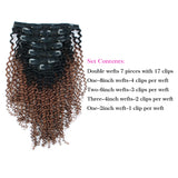 Kinky Curly Clip in Hair Ombre Tone Natural Black Fading into Light Auburn