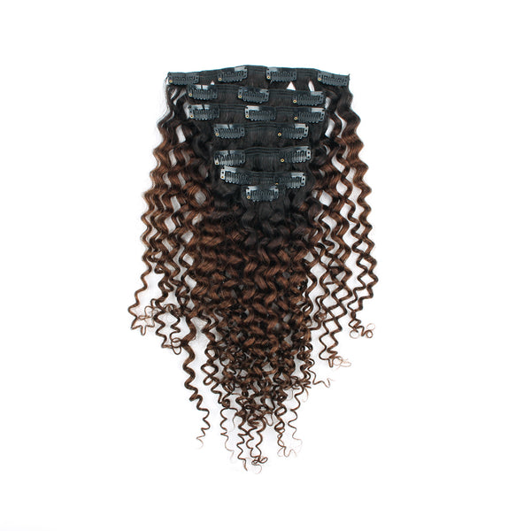 Jerry Curly Clip in Hair Ombre 1B Off Black Fading into Light Chocolate Brown
