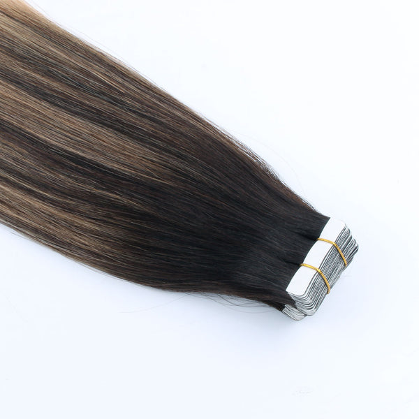 Lovrio  20pcs 50g Tape in Hair Extensions Pastel Balayage Colored #2 Brown Fading to #18 Blonde Double Sided - lovirohair