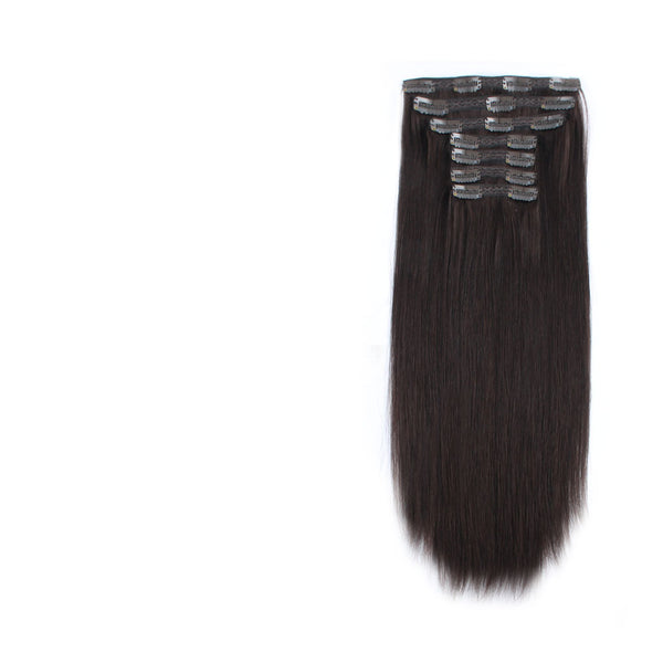 Clip in Human Hair Extensions Color Darkest Brown Clip Ins For Women 7 pieces 18 clips