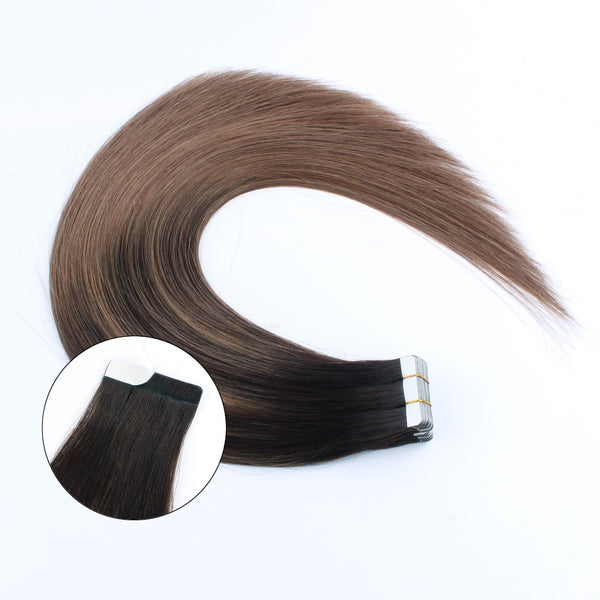 Lovrio 20pcs 50g Remy Tape in Hair Extensions Human Hair Balayage Colored #2 Dark Brown Fading to #6 Chestnut Brown Straight Hair Seamless Skin - lovirohair