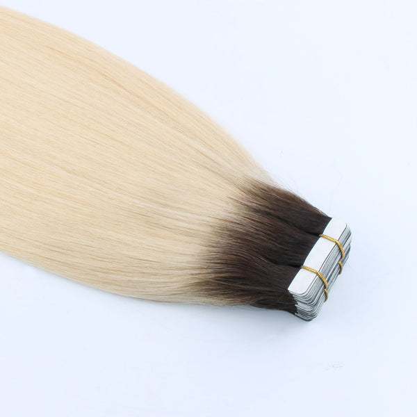 "Lovrio 14""  20pcs 50g Tape in Human Hair Extensions Dark Roots Blonde Pre Taped Double Darkest Brown Fading to Ash Blonde Base Color R2-60 - lovirohair"