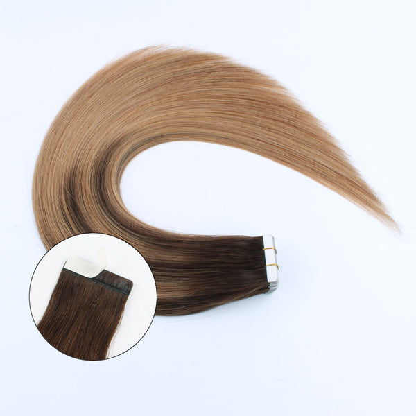 Lovrio  20pcs 50g Tape in Hair Extensions Balayage Colored #4 Chocolate Brown Fading to #27 Caramel Blonde Prime Silky Straight - lovirohair