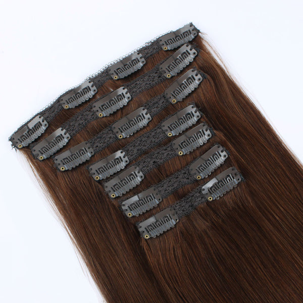 Clip in Hair Extensions Human Hair Color Chocolate Brown 7 pieces 18 clips
