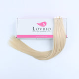 Lovrio  20pcs 50g Remy Straight Tape in Hair Extensions Human Hair #60 Platinum Blonde  - lovirohair