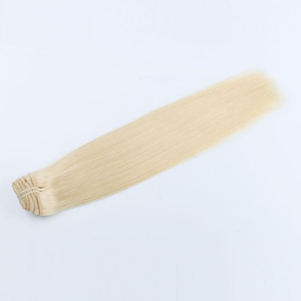 RosaBlanca Clip in Hair Extensions #613 Color Bleach Blonde Remy Human Hair 7 pieces 18 clips