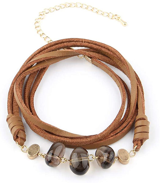 Abrand Bellameri Retro Bracelet, String of Ore Pieces, Natural Wood, Natural Stone, Bracelet for Women and Girls