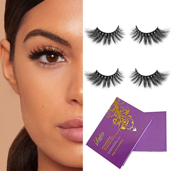 Bellameri 2 Pairs 9A Grade 3D Mink Eyelashes Siberian Fake Lashes, Soft Reusable Real Mink Lashes for Women Makeup Reusable Handmade Strips Eyelashes 16mm 3D 49