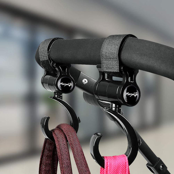 Bellameri Stroller Hook, Versatile 2 Piece 360 Degree Rotary Velcro Hook for Hanging Shopping Bags, Clothes, Baby Supplies, etc