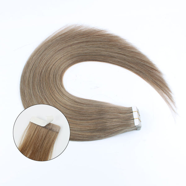 Lovrio  20pcs 50g Remy Straight Tape in Hair Extensions Human Hair #8 Light Brown Silky Straight Skin Weft - lovirohair