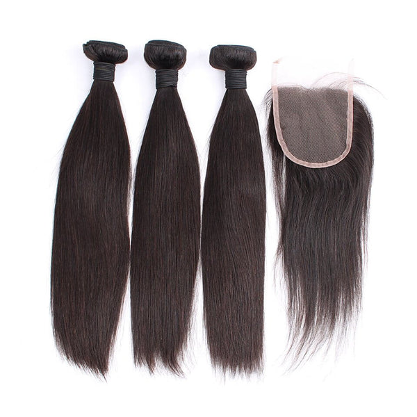 Silky Straight Hair Bundles With 4X4 Lace Closure