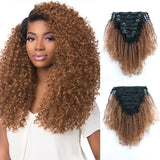 Loviro Afro Kinkys Curly Clip in Human Hair Extensions Ombre Tone Natural Black Fading into Light Auburn TN30 7 Pcs 120g - lovirohair