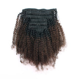 Loviro Afro Kinkys Curly Clip in Hair Extensions Ombre Natural Black Fading into Light Chocolate Brown TN/4 - lovirohair