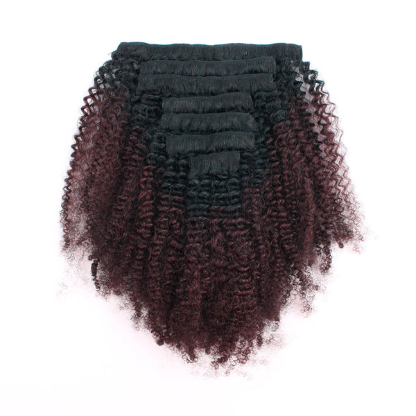 Loviro Afro Kinkys Curly Clip in Hair Extensions  Natural Black Fading into Cherry Wine 7 Pcs 120g TN/99J - lovirohair