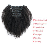 Loviro Afro Kinkys Curly Clip in Human Hair Extensions for Black Women 7 Pieces 120g - lovirohair