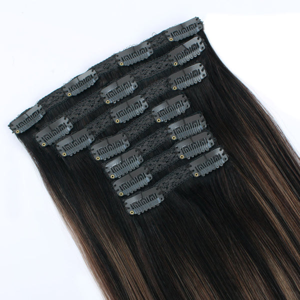 Clip in Human Hair Extensions Balayage Color Dark Brown Fading to Chestnut Brown B2/6120g 7 pieces 18 clips