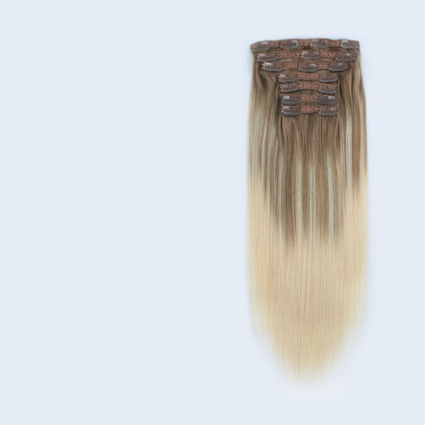 Clip in Hair Extensions Human Hair Balayage Color Ash Brown/Light Chestnut Brown Fading to Platinum Ash Blonde B8/60 7 pieces 18 clips