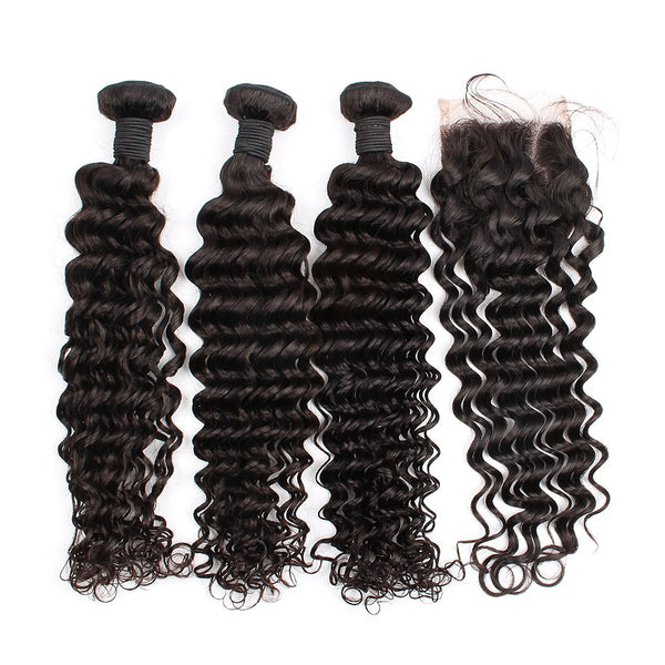 Deep Wave Hair Bundles With 4X4 Lace Closure