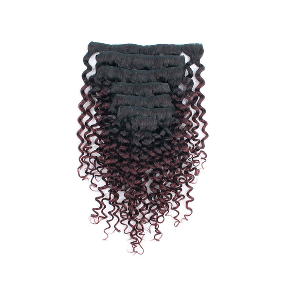 Lovrio Jerry Curly Clip In Human Hair Extensions Two Tone Ombre Natural Black Fading into Cherry Wine T1B/99j - lovirohair
