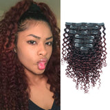 Jerry Curly Clip in Hair Ombre Natural Black Fading into Cherry Wine