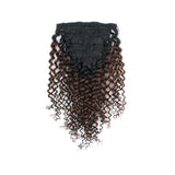 Lovrio Jerry Curly Clip In Human Hair Extensions Ombre 1B Off Black Fading into Light Chocolate Brown - lovirohair