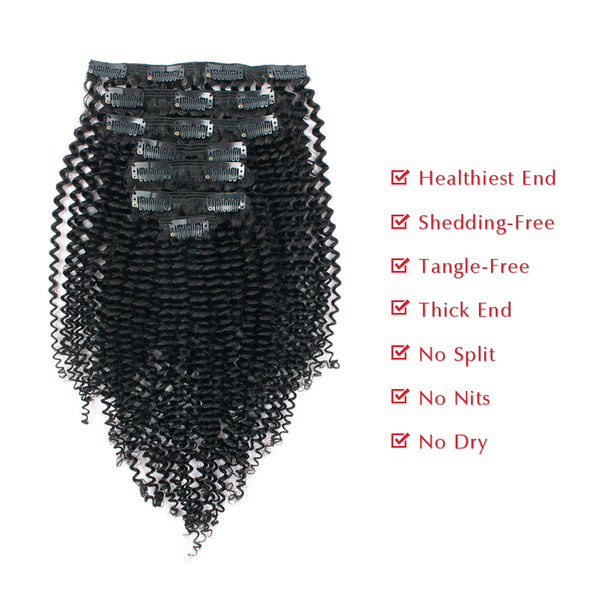 Loviro Kinkys Curly  Clip in Human Hair Extensions for Black Women 7 Pieces 120g - lovirohair