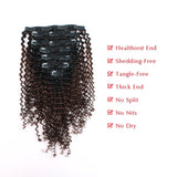Lovrio Kinkys Curly Clip in Hair Extensions one Natural Black Fading into Light Chocolate Brown KCTN/4 - lovirohair
