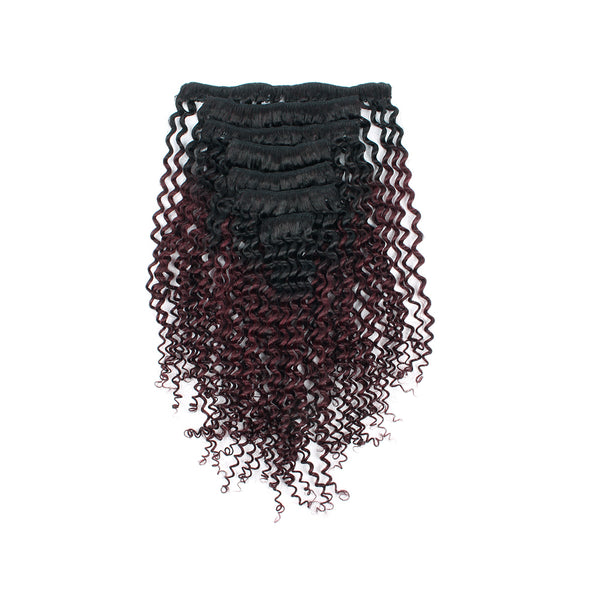 Lovrio Kinkys Curly Clip in Hair Extensions for Black Women Ombre Tone Natural Black Fading into Cherry Wine 7 Pieces 120g KCTN/99J - lovirohair