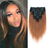 Kinky Straight Clip in Hair Ombre Natural Black Fading into Light Auburn