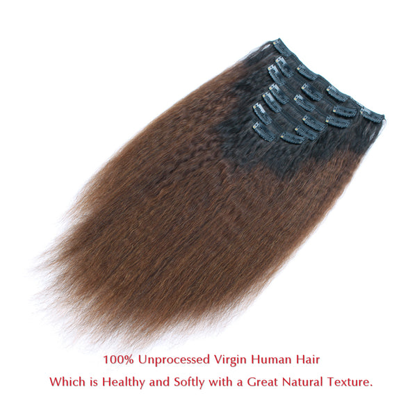 Kinky straight clip in hair extensions Ombre Natural Black Fading into Light Chocolate Brown TN1B/4 - lovirohair