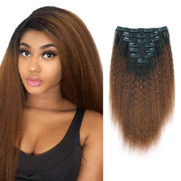 Kinky Straight Clip in Hair Ombre Natural Black Fading into Light Chocolate Brown