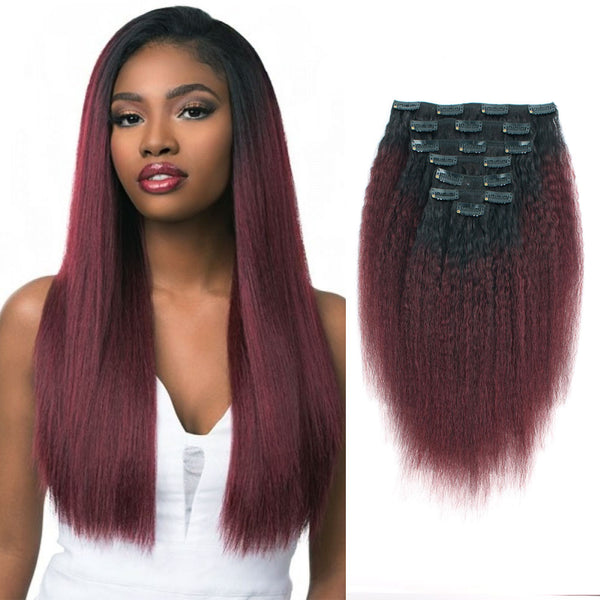 Kinky Straight Clip in Hair Ombre Natural Black Fading into Cherry Wine