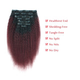 Kinky straight clip in hair extension Natural Black Fading into Cherry Wine 7 Pcs 120g TN/99J - lovirohair