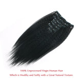 Lovrio Kinky Straight Clip In Hair Extensions Natural Black - lovirohair