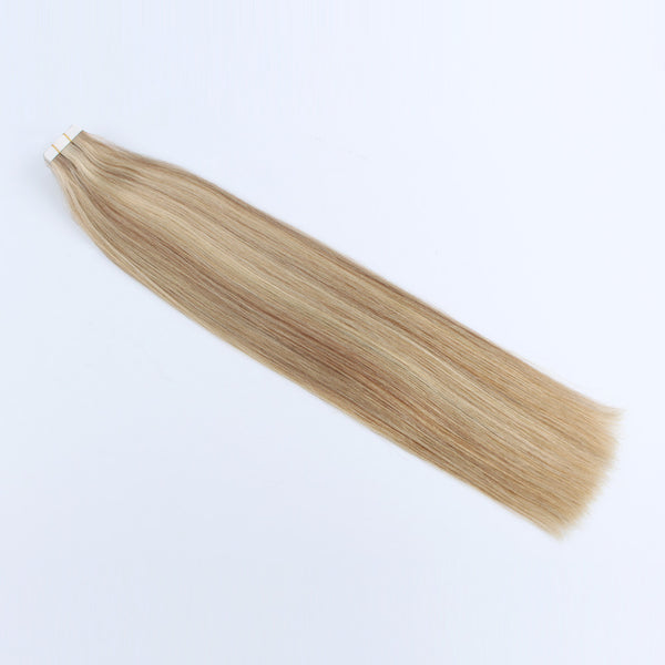 Tape in Human Hair Piano Color Skin Weft Bronde Mixed with Warm Golden Blonde and Beach Blonde/Bleach Blonde Color P10-16-613