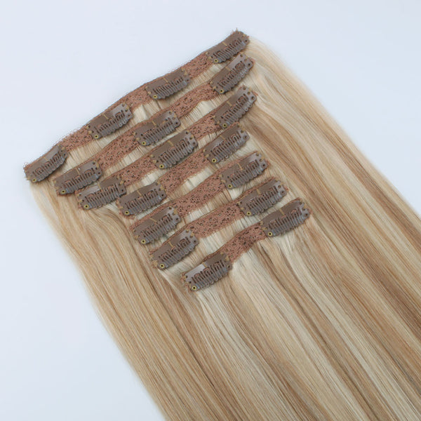 Clip in Hair Extensions Piano Color Dark Dirty Blonde Mixed with Platinum Ash Blonde P12/60 Double Weft Big Thick Virgin Human Hair 120g 7 pieces 18 clips