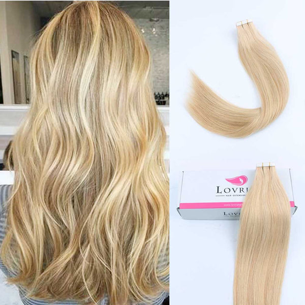 Tape in Hair Dirty Blonde Mixed with Platinum Beach Blonde