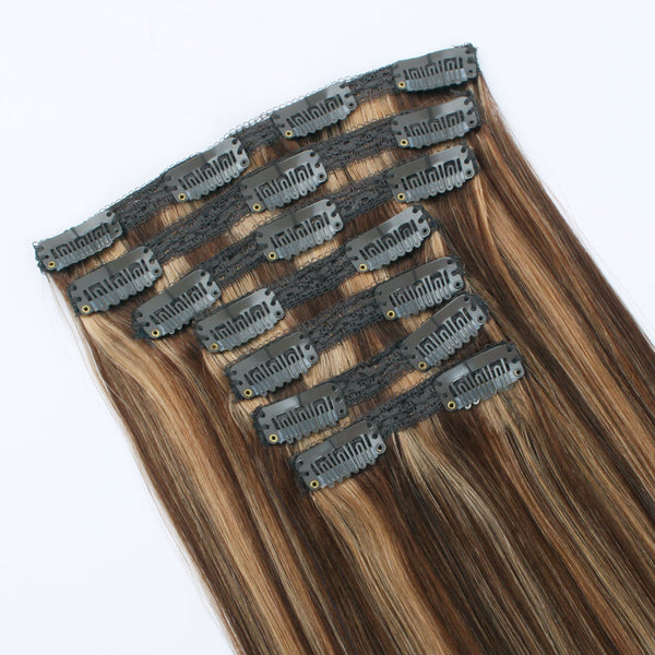 Clip in Human Hair Extensions Piano Color Chocolate Brown Mixed with Caramel Blonde P4/27 120g 7 pieces 18 clips